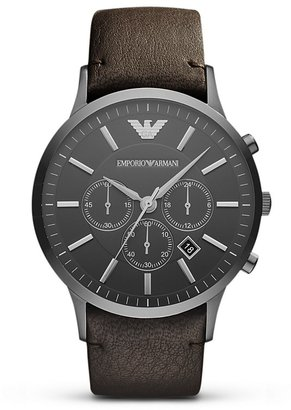Emporio Armani Brown Leather Strap Watch, 46mm