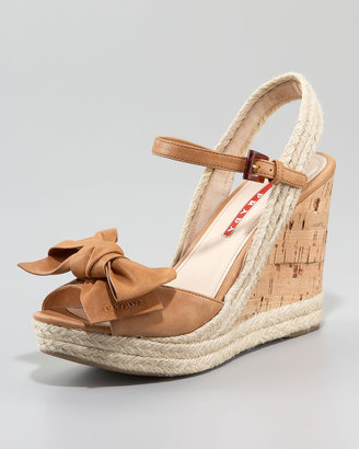 Prada Leather Bow Espadrille Wedge Sandal