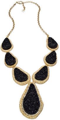 Blu Bijoux Black Druzy Teardrop Bib Necklace