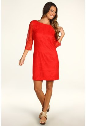 Trina Turk Studio 3/4 Sleeve Lace Dress (Rouge) - Apparel