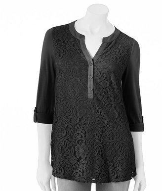Apt. 9 lace overlay drop-tail hem henley - women's