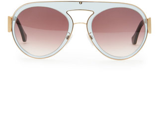 Balenciaga Transparent Aviator Sunglasses, Gray/Purple