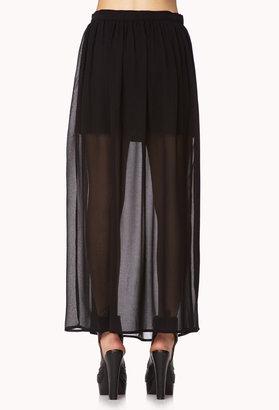 Forever 21 Slit Chiffon Maxi-Skirt