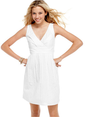 Amy Byer Macy's BCX Dress, Sleeveless Pleated Eyelet Surplice