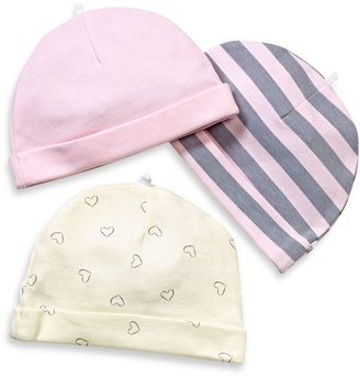 Bed Bath & Beyond Sterling Baby 3-Pack Cap Set in Pink/Grey