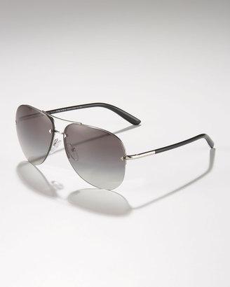 Prada Metal Sport Aviator Sunglasses