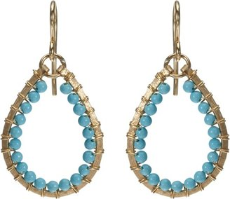 Sonya Renee Jewelry Turquoise Wire-Wrapped Teardrop Earrings Sale up to 60% off at Barneyswarehouse.com