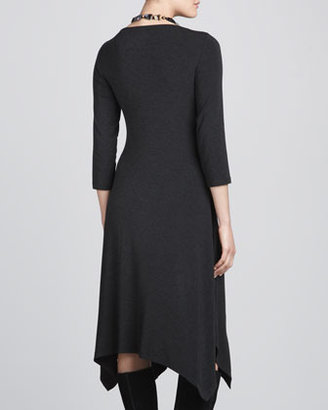 Eileen Fisher Cozy Jersey 3/4-Sleeve Handkerchief Dress