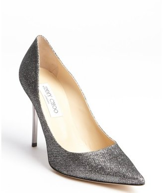 Jimmy Choo anthracite lame glitter point toe pumps