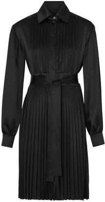 Burberry Pleated Silk Satin And Jersey Tie-waist Shirt Dress