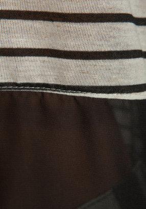 LnA Fleur Tee in Black/Oatmeal Stripe