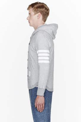 Thom Browne Grey Striped-Sleeve Button Up Hoodie