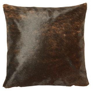 Dexter 18x18 Hide Pillow, Dark Brown
