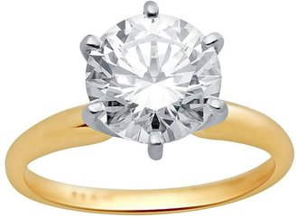 Swarovski Renaissance collection round-cut solitaire engagement ring in 14k gold two tone - made with zirconia