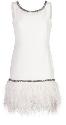 Marchesa Silk Crepe Cocktail Dress with Feather Trim