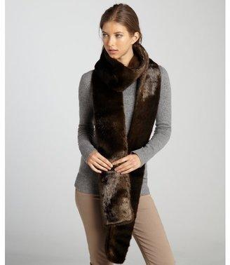 Rachel Zoe brown fuax mink fur long scarf