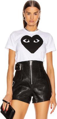 Comme des Garcons Cotton Black Heart Emblem Tee in White | FWRD