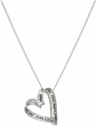 Moon & Back Silver Heart 'Mum' Pendant 18 Inch Necklace