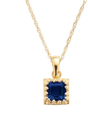 Tiara 14k Gold Over Silver Lab-Created Sapphire Pendant