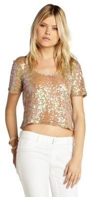 BCBGeneration Cropped Sequin Top