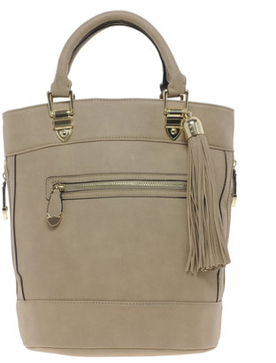 River Island Tan Tassel Bucket Bag