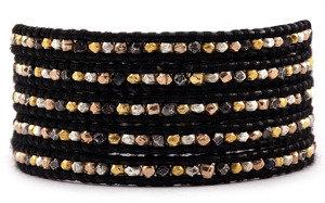 Chan Luu Mixed Nugget Wrap Bracelet on Black Leather