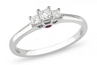 Ice 1/4 CT Three Stone Princess Cut Diamond 14K White Gold Engagement Ring