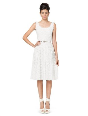 Oscar de la Renta Embroidered Sleeveless Dress With Pleated Skirt