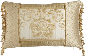 "Austin Horn Collection Antoinette Pieced Boudoir Pillow with Side Onion-Tassel Fringe, 13"" x 19"""