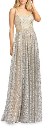Mac Duggal Sparkle Lattice Pleated Sleeveless A-Line Gown
