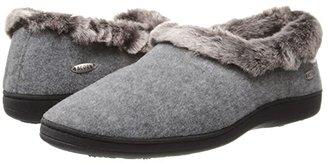 Acorn Faux Chinchilla Collar (Stone) Women's Slippers