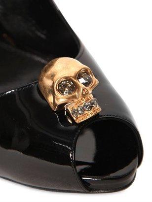 Alexander McQueen 105mm Patent Skull Open Toe Pumps