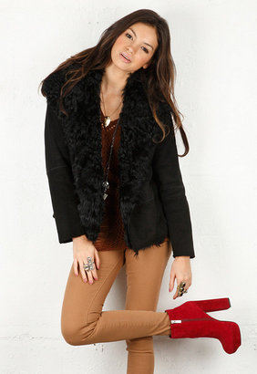 Vince Curly Lamb Shearling Jacket in Black -