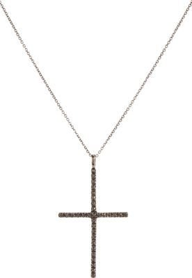 Ileana Makri Black Diamond & Oxidized White Gold Classic Cross Pendant Necklace