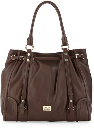 Moschino Belted Large Leather Tote, Maroon