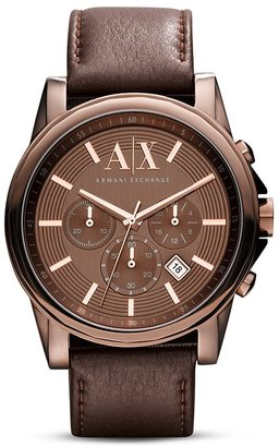 Armani Exchange Men's A|X Brown Leather Chronograph, 45mm