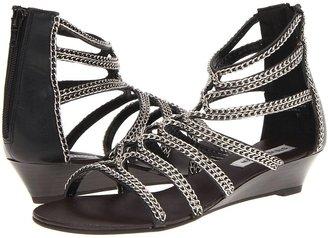 Steve Madden P-Ines (Black/Silver Leather) - Footwear