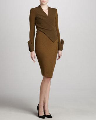 Donna Karan Crepe Bodice Open-Back Jersey Dress, Brass