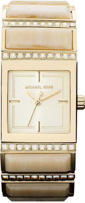 Michael Kors Watch, Women's Erin Horn and Gold-Tone Stainless Steel Link Bracelet 24mm MK4268