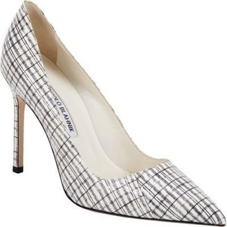 Manolo Blahnik BB Plaid Snakeskin Pump