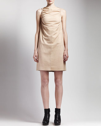 Rick Owens Ruched Leather Dress, Flesh