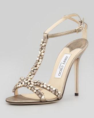 Jimmy Choo Tayn Crystal T-Strap Sandal