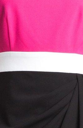 Calvin Klein Colorblock Side Drape Sheath Dress