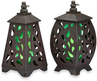 Bed Bath & Beyond Garden Meadow Solar Scroll Pyramid Wooden Lantern - Green