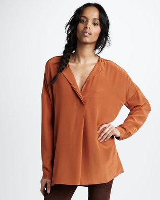 Vince Oversized Silk Shirt, Gingersnap
