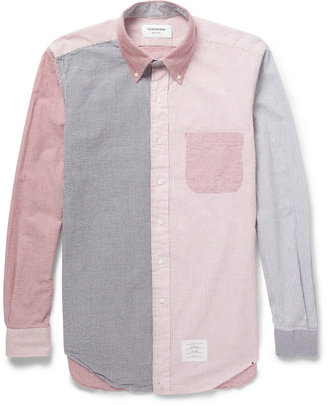 Thom Browne Contrast-Panel Seersucker Shirt