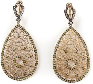 Loree Rodkin Filigree Diamond Tear Drop Earrings