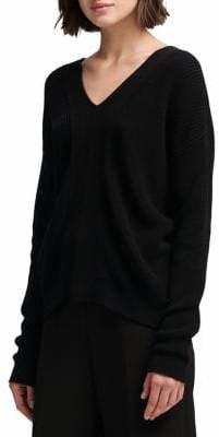 DKNY Lace-Up Back Cotton Sweater