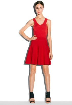 Milly Angled Rib Knit Stretch Flare Dress