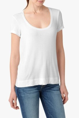 7 For All Mankind Signature Scoop Tee In Blanc De Blanc